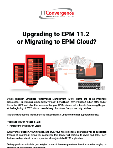 Upgrading to EPM 11.2 or Migrating to EPM Cloud